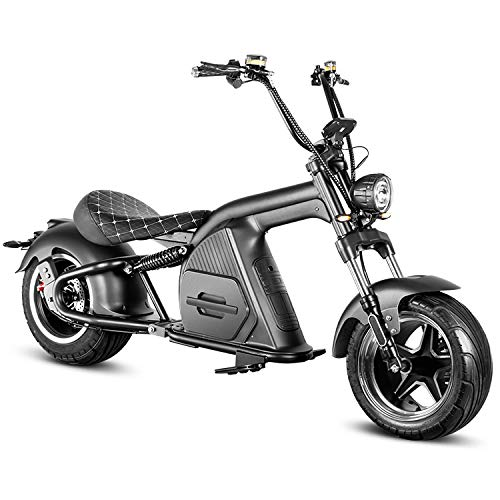 Eahora M8 2000W 60V Electric Scooter for Adults Harley Electric Motorcycle with QS Motor, 30AH Lithium Battery, Hydraulic Brakes, Full Suspension, Direction Indicator, Rearview Mirror