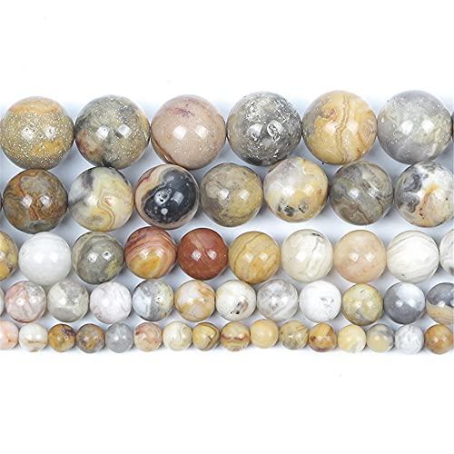 Piedra natural ágata encanto redondo cuentas sueltas para hacer joyas costura pulsera DIY Strand 4 6 8 10 12 mm H7188 6mm aproximadamente 63pcs