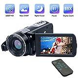 Videocámara Videocamara Full HD 1080P 24.0MP Videocámara Camaras de Video Digital Visión Nocturna 18X Zoom Digital con Control Remoto