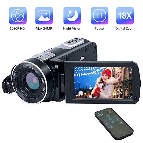 Videocamera Videocamere Full HD 1080P 24.0MP Videocamera Digitale Visione Notturna Zoom Digitale 18X con Telecomando