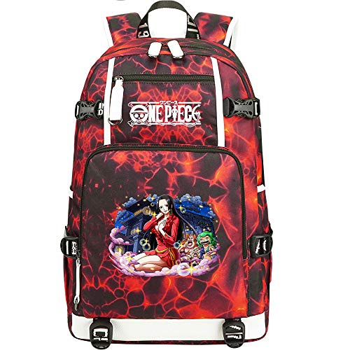 ZZGOO-LL One Piece Monkey·D·Luffy/Nico Robin Anime Laptop Backpack Bag Travel Laptop Daypacks Bolso Ligero con USB-C