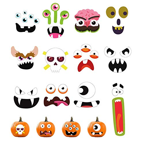 YOUYIKE Halloween Pumpkin Stickers,Self Adhensive Pumpkin Ghost Stickers,12 Funny and Classic Pumpkin Expressions Stickers,for Halloween Kids Craft Party Decorations