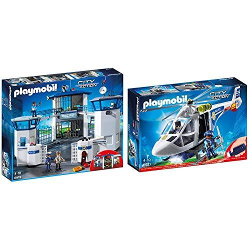 Playmobil 6919 Prigione e Stazione di Polizia & 6921 Elicottero della Polizia con Faro