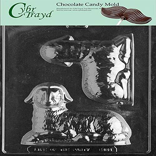 Cybrtrayd E454 3D Lamb Chocolate/Candy Mold with Exclusive Cybrtrayd Copyrighted Chocolate Molding Instructions