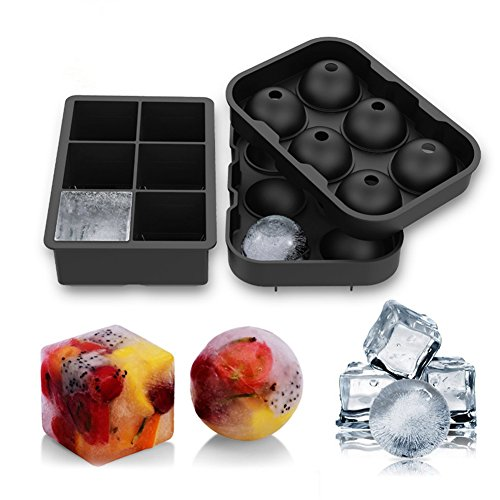 Ice Cube Trays/Mold Whiskey Ice Ball Maker ice sphere mold, Round Ice Ball Trays Maker and Square, It Can Be Reused by Zodae (6 Spheres & 6 cubes)