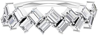 HI-SI 1.26Ct Baguette Shape Diamond Ring, Zigzag Wedding Band, Antique Half Eternity Ring, Bridesmaid Layering Ring, Women...