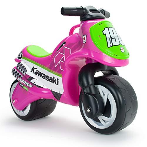 INJUSA Motorrad Laufrad Kawasaki rosa für Kinder ab 18 Monaten mit Breiterädern, Tragegriff und IML Dekoration