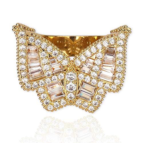 Iced Out Butterfly Hip Hop Ring - Anillo de Hip Hop con diamante simulado Bling CZ chapado en oro de 18 quilates para hombres y mujeres, para regalo de banda de fiesta de compromiso de boda,Oro,9