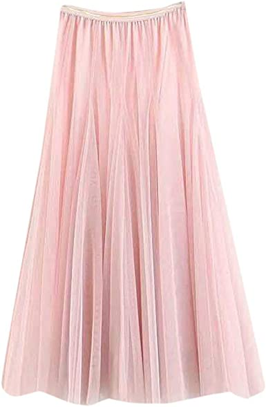 QinMMROPA Falda de Tul Plisada Elegante para Mujer, Falda ...