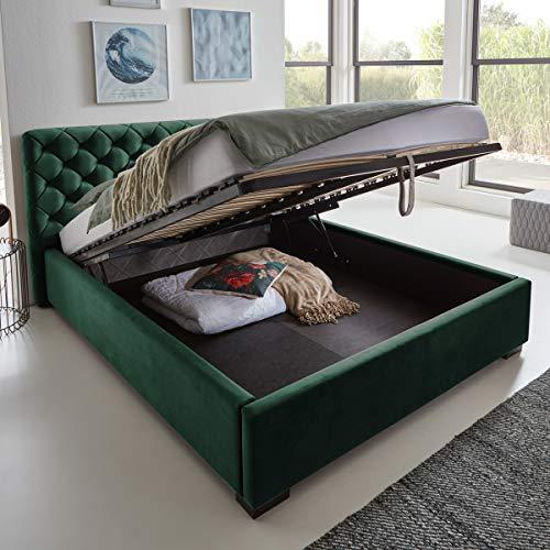 Designer Bett mit Bettkasten ELSA Samt-Stoff Polsterbett Lattenrost Doppelbett Stauraum Holzfuß schwarz (Smaragd, 180 x 200 cm)