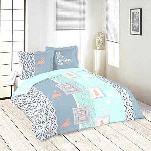 Lovely Casa Tropia Housse de couette 240 x 220 cm avec 2 Taies d'oreiller 63 x 63 cm, Coton, Bleu