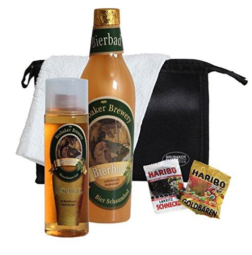 BRUBAKER Bier Badeset Geschenkset für Männer mit Schaumbad, Duschgel, Kulturbeutel, Waschlappen plus Notration Zucker