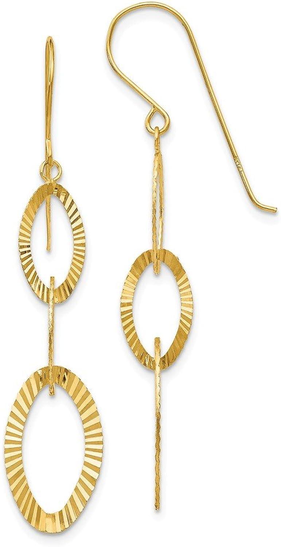 Beautiful Yellow gold 14K Yellowgold 14K Diamond Cut Oval Earrings
