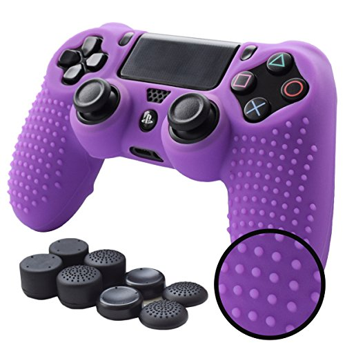 PS4 Controller Grips,Pandaren Studded Anti-Slip Silicone Cover Skin Set Compatible for PS4 /Slim/PRO Controller(Purple Controller Skin x 1 + FPS PRO Thumb Grips x 8)