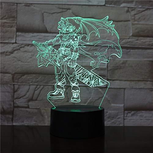 3D Tischlampe Final Fantasy Cloud Strife Halloween Geschenk Farbe Led Nachtlicht Tischlampe Ping