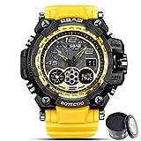 Digital Watch SBAO Watch Men's Luxury Analog Quartz Dual Display Watch Waterproof Sports Military Digital Led Army Tactical Wrist Watch (Yellow)
