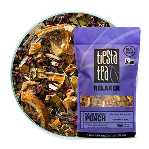 Tiesta Tea | Palm Beach Punch, Loose Leaf Fruit Punch Herbal Tea | Loose Leaf Tea Herbal Tea | All Natural, Caffeine Free, Stress Relief, Relax, Sleep | 16oz Bulk Bag - 200 Cups | Herbal Tea