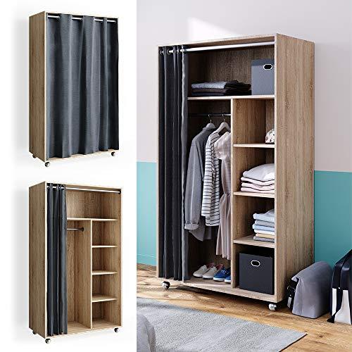 VICCO mobiler Kleiderschrank DOROS auf Rollen Dielenschrank offen Garderobe (Sonoma)