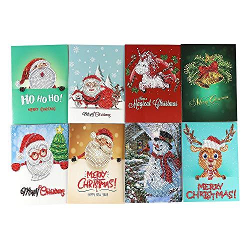 Walmeck 5d diamant schilderij kerstkaarten diamant borduurwerk verjaardag papier DIY groet ansichtkaarten craft kis cadeau 8 stuks