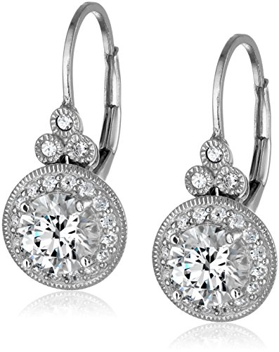 La Lumiere Platinum Plated Sterling Silver Made with Cubic Zirconia from Swarovski (3.5cttw) Round Antique Drop Earrings