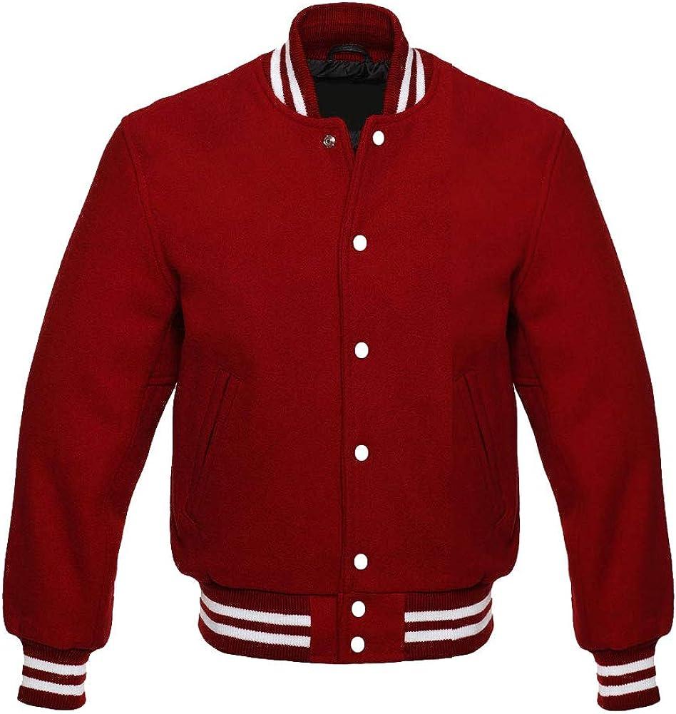 Apex Ltd Men's All Wool Bomber Style Letterman Varsity Jacket XS to 7XL