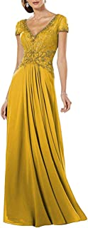 JONLYC Women's A-line Crystal Beaded V-Neck Chiffon Evening Party Dress Prom Gown
