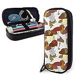 Estuches de lápices con cremallera multiusos para la escuela, suministros de oficina, diseño de setas y plantas (8)