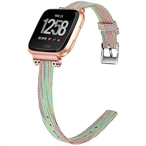 Lienzo Rápida Liberación Reloj de Reemplazo Banda Compatible con Fitbit Versa 2 / Versa 2 SE/Versa Lite/Versa smartwatch, Correas de los Hombres de Las Mujeres (Pattern 1)