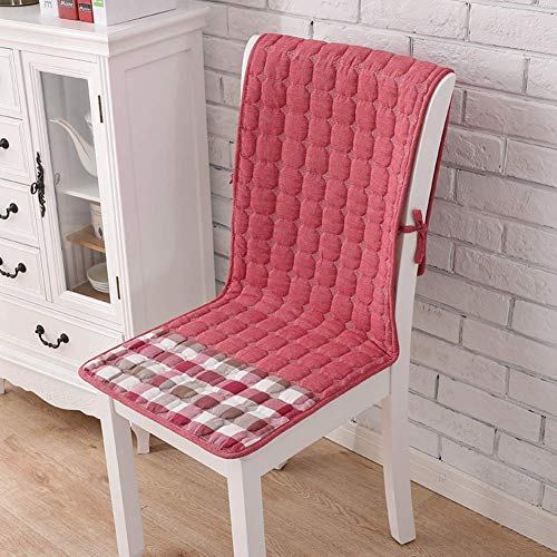 WJX&Likerr With pocket One-piece Chair cushion, Cotton Four seasons Seat cushion Set Non-slip Chair With straps Dining Chair cushion-red 50x140cm