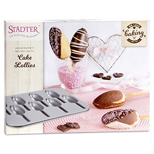 Städter We Love Baking Backform Cake Lollies, Metall, Silber, 35 x 27 cm