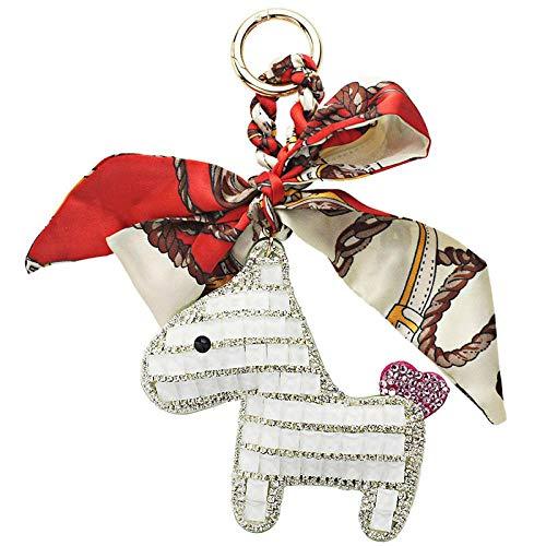 JIAXIA Schlüsselanhänger mit Pferde-Schal, Leder, Schlüsselanhänger, Geldbörse, Tasche, Anhänger, Geschenk für Mädchen und Damen, Weiß