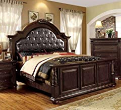 247SHOPATHOME Panel bed, Queen, Cherry