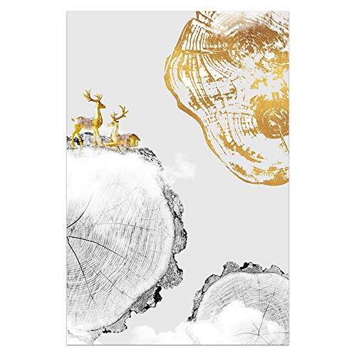 Arte Abstracto nórdico Anillo de Oro Pintura Anual árbol de Oro Cartel escandinavo Nordic Lienzo impresión Arte de la Pared decoración Imagen Simple Restaurante Sala de exposición Estudio