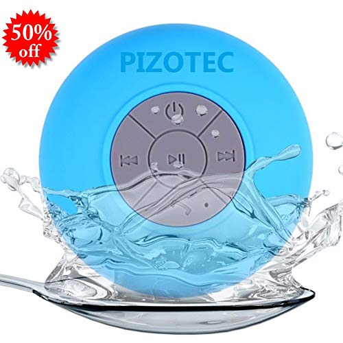 Pizotec Waterproof Wireless Bluetooth Shower Speaker, Listen to Music in The Shower, Built-in Microphone for Hands-Free Calls, w/Suction Cup Attachment, Bluetooth 4.0