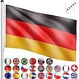 FLAGMASTER® Aluminium Fahnenmast 6,5m + Flagge, 5fach höhenverstellbar, 18 Verschiedene Fahnen zur Wahl, Komplettset