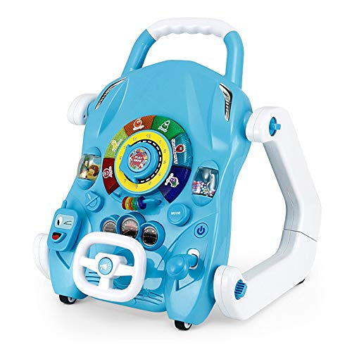 MICROSHE Gehfrei Walker 3-in-1-Baby-Push-Walker Early Education Puzzle Musik-Spieltisch Adjustable Faltbare Lernschritt Helper (Farbe : Blau, Größe : 38x39x44.7cm)