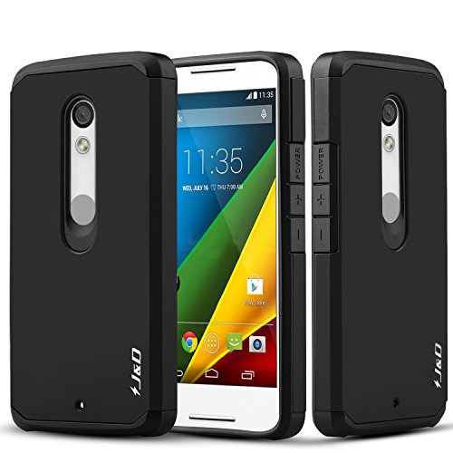 small Moto Droid Maxx 2 Case Heavy Duty Compatible J & D Case [Dual Layer] Hybrid impact protection …
