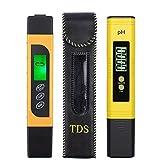 eSynic 3 en 1 Medidor de pH LCD Digital TDS EC Pureza del Agua PPM Filtro Probador de Temperatura PlumaMedidor de Prueba de Calidad del Agua 0-14pH 0-9999ppm con Alta Precisión y Pantalla LCD