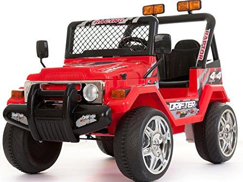 Dzieci 2-osobowa 12 V elektryczna / bateria jazda samochodem / styl wranglera Jeep 4X4 czerwony