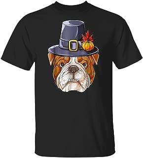 LeetGroupAU Thanksgiving S for Boys Kids English Bulldog Pilgrim T-Shirt