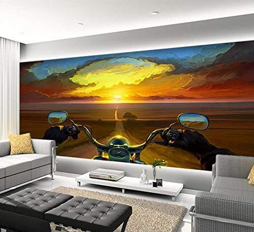 Papel tapiz 3D Mural de gama alta Sticke mural Pintura creativa Biker Sunset Tv Papel tapiz de murales en la pared 3D, 250 × 175 cm