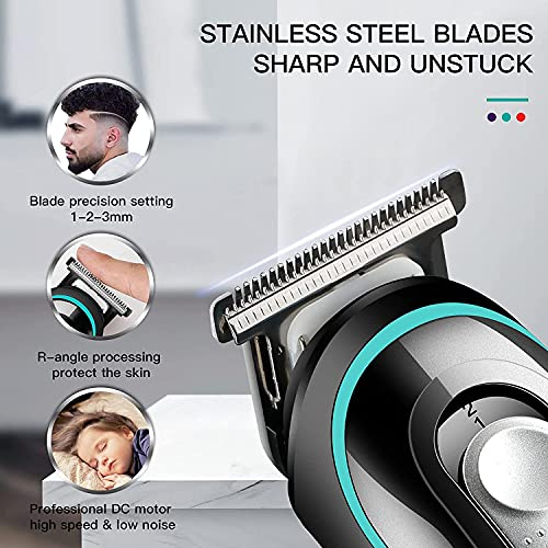 VGR V-055 Professional Cordless Beard Hair Trimmer Kit Wireless Hair Grooming Trimmers with 4 Guide Combs Brush USB Cord for Men, Family or Pets Rechargeable Li-ion Battery 120 mins Runtime - Black