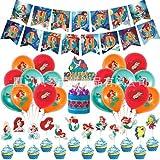 CBOSNF 32 Piezas Set de cumpleaños de Princesa de mar,Sirena Rosada Decoraciones Fiesta Cumpleaños Kit, Decoraciones Decoracion Tarta, Globos de Rosada para niños,Suministros Fiesta Temáticos
