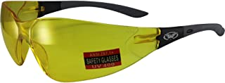 Global Vision Relentless Safety Riding Glasses Grey Frame Yellow Lens ANSI Z87.1