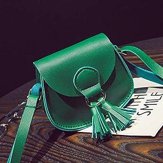 Adebie - New Children Messenger Bag Korean Retro Tassels Princess Mini Cute Crossbody Bag for Children Girls Kids Women Shoulder Bag Green []