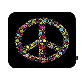 EKOBLA Symbol of Peace Sign Mouse Pad Colorful Wildflowers Abstract Art Design Black Background Gaming Mouse Mat Non-Slip Rubber Base Thick Mousepad for Laptop Computer PC 9.5x7.9 Inch