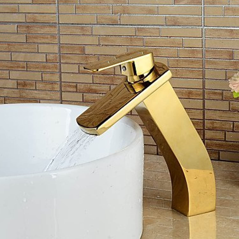 Moderne hohe Kaskade Waschbecken Wasserhahn-PVD Gold Titan-Finish