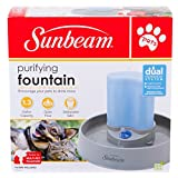 Sunbeam Pets Cat Dog Animal Purifying Water Fountain Dual Filtration System 1.3 Gallon Dishwasher Safe