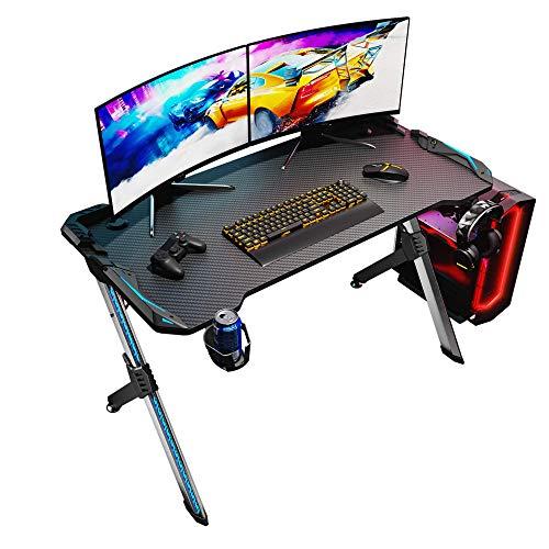SONNI Mesa Gaming Grande 120cm,Mesa de Juegos para Computadora LED,con Alfombrilla de ratón,Gancho para Auriculares y Portavaso,Gaming Desk Ordenador Escritorio