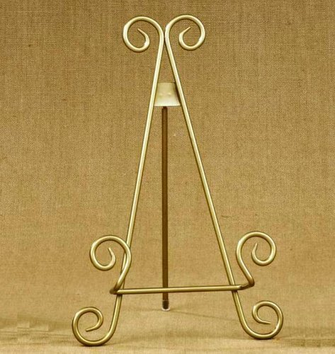 "11""h Gold Finish Metal Display Easel / Platter Stand ~ Great for Display Photo Frames and Collectible Plates"